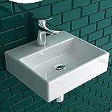 Alpenberger Handwaschbecken 33 cm aus robuster Keramik | Kleines Waschbecken für kleine Bäder & Gäste WCs | Italienisches & Elegantes Desig