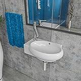 Keramik Waschbecken Waschtisch Waschschale Aufsatzwaschbecken Gäste WC wandhängend Armaturloch Links oder Rechts KBW185 (Armaturloch Link)