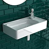 Kleines Hängewaschbecken ohne Überlauf aus hochwertiger Sanitärkeramik | Eck Handwaschbecken Weiß, Mini Waschschale | Waschtisch, Waschbecken Gäste WC | Rechteckig