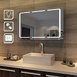 sunnyshowers LED Spiegelschrank 3 türig 1050 x 650 x 130 mm Badezimmerspiegel wandschrank Badschrank mit Beleuchtung mit Steckdose