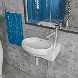 Keramik Waschbecken Waschtisch Waschschale Aufsatzwaschbecken Gäste WC wandhängend Armaturloch Links oder Rechts KBW185 (Armaturloch Rechts)