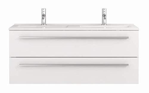 Waschtischunterschrank 120 cm breit weiß Hochglanz Doppel-waschtisch Doppel-waschbecken Waschbeckenunterschrank Unterschrank Badmöbel-Set hängend Sieper Libato (120cm, weiß)