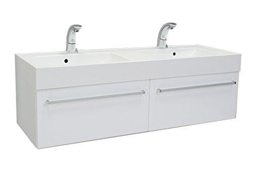 Quentis Doppelwaschplatz Aruva, Breite 140 cm, weiß glänzend