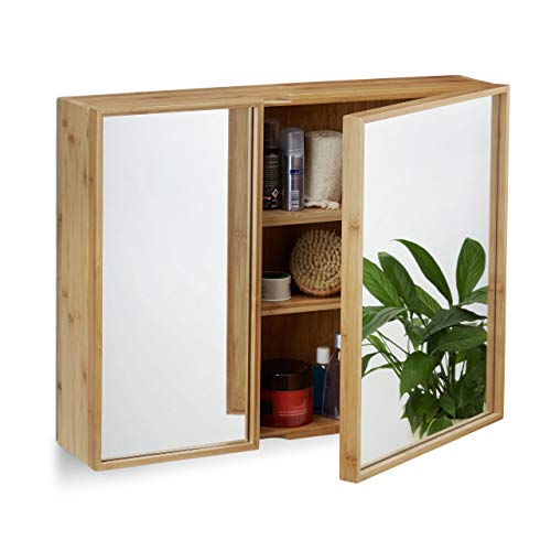 Relaxdays Bad Spiegelschrank 2-türig, Wandschrank aus Bambus, vormontierter Badschrank HxBxT: 50 x 65 x 14 cm, natur