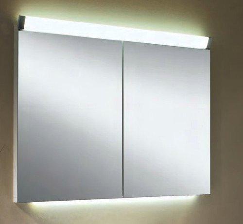 Schneider PALIline Aluminium Spiegelschrank LED beleuchtet 800mm 80cm 2-türig 1590800