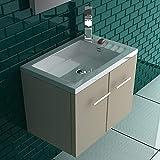 Alpenberger Badmöbelset Komplett Vormontiert 45 x 25 cm   Großzügiger Washbereich   Keramikwaschbecken mit Überlauf   Unterschrank mit Soft-Close Funktion   Gäste-WC Lösung   inkl. Montagset
