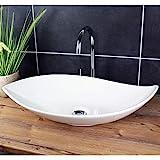Design Waschbecken Aufsatzwaschbecken 66,5 x 40 cm länglich Weiß Waschschale Modern Keramik
