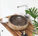 wohnfreuden Naturstein Waschbecken 40 cm mit Unikatauswahl nach dem Kau