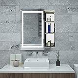 Janboe LED Spiegelschrank für Bad Edelstahl Spiegelschrank mit Verschiebbarer Spiegel, Dimmfähigkeit mit Speicherfunkt