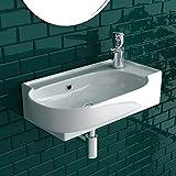 bad1a Handwaschbecken Mini Waschtisch Weiß Keramik-Waschbecken 45cm mit Überlauf |WC-Waschbecken klein Gästebad Hängewaschbecken| Wandmontage, Badezimmer| Oval Italienisches Desig
