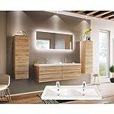 badmöbelset Elegantes Doppel-Badezimmer Möbelset Eiche hell mit Waschplatz in Wellenfor