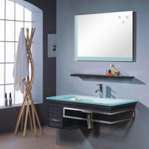 Glas Waschbecken mit Unterschrank Set