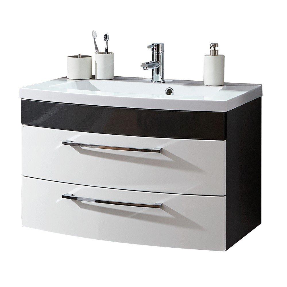 Waschbecken mit Unterschrank schwarz weiß   Waschtisch mit Unterschrank