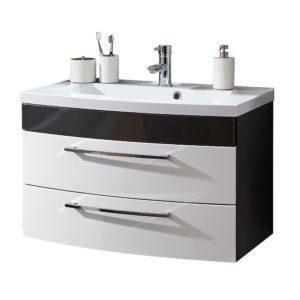 Waschbecken mit Unterschrank schwarz-weiß